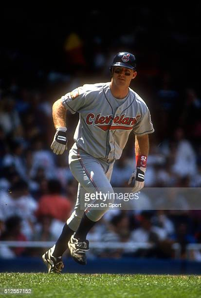 Jim Thome of the Cleveland Indians trots to first base against the New York Yankees during a Major League Baseball game circa 1994 at Yankee Stadium...