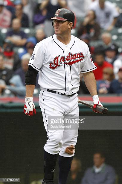 Jim Thome of the Cleveland Indians walks to the dugout after striking out against the Detroit Tigers during the sixth inning of their game on...