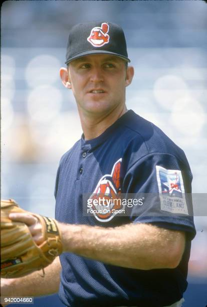 Jim Thome of the Cleveland Indians warms up prior to the start of a Major League Baseball game against the New York Yankees circa 1996 at Yankee...