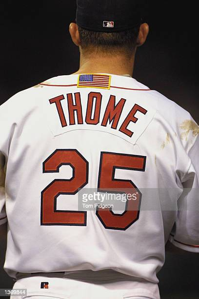 Jim Thome of the Cleveland Indians wears an American Flag on the back of his uniform during the game against the Kansas City Royals on September 18...