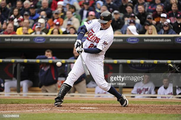 Jim Thome of the Minnesota Twins bats against the Chicago White Sox on May 12 2010 at Target Field in Minneapolis Minnesota The Twins defeated the...
