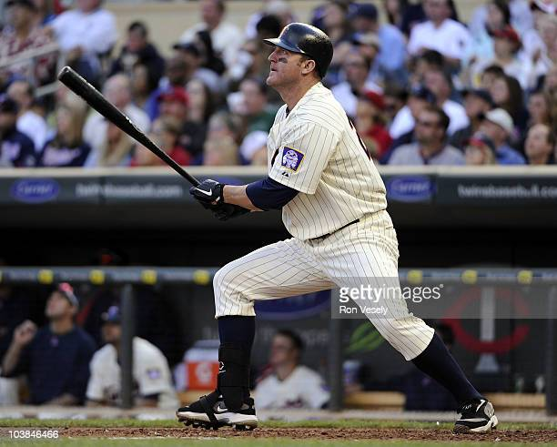 Jim Thome of the Minnesota Twins hits his second home run of the game in the fourth inning against the Texas Rangers on September 4 2010 at Target...