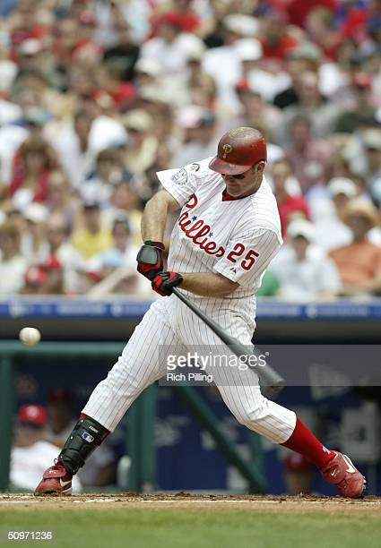 Jim Thome of the Philadelphia Phillies bats during the game against the Atlanta Braves at Citizens Bank Park on May 30 2004 in Philadelphia...