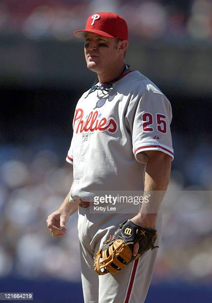 Jim Thome of the Philadelphia Phillies during 41 victory over the Los Angeles Dodgers at Dodger Stadium on Sunday August 8 2004