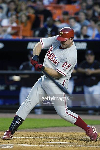 Jim Thome of the Philadelphia Phillies hits against the New York Mets on May 20 2003 at Shea Stadium in Flushing New York The Phillies won 117