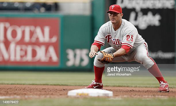 Jim Thome of the Philadelphia Phillies stands at first base against the Pittsburgh Pirates during the game on April 8 2012 at PNC Park in Pittsburgh...