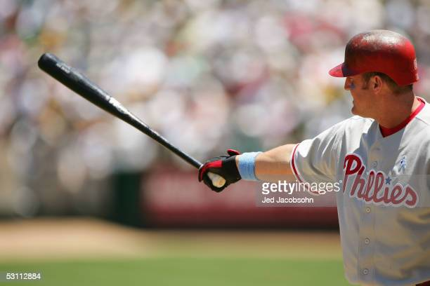 Jim Thome of the Philadelphia Phillies waits for the pitch during their interleague MLB game against the Oakland Athletics at McAfee Coliseum on June...