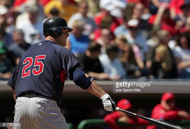 Jim Thome of the Twins stands at the plate as the Philadelphia Phillies host the Tampa Bay Rays in Grapefruit League action during Spring Training at...