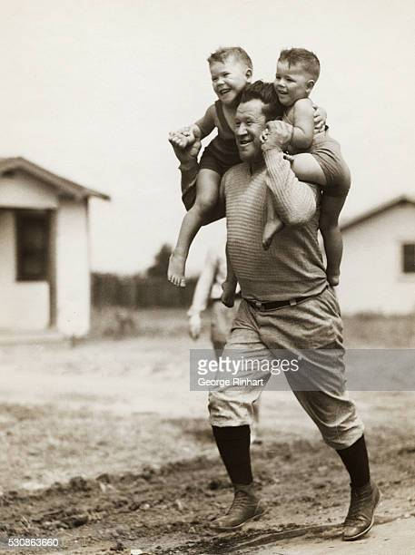 Jim Thorpe Carlisle football ace Olympic Games hero and once the world's greatest athlete goes into training at his home in Inglewood California...