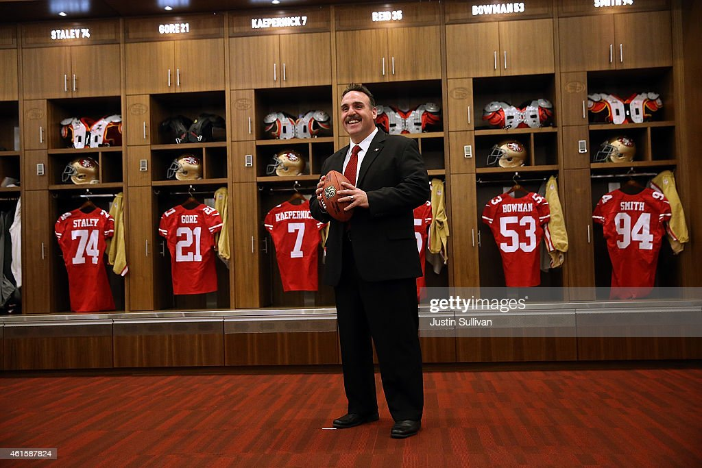 Jim Tomsula poses for a photo opportunity following a press conference at Levi's Stadium on January 15, 2015 in Santa Clara, California. The San Francisco 49ers announced Jim Tomsula as their new head coach to replace Jim Harbaugh.