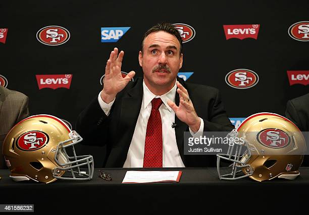 Jim Tomsula speaks during a press conference at Levi's Stadium on January 15 2015 in Santa Clara California The San Francisco 49ers announced Jim...