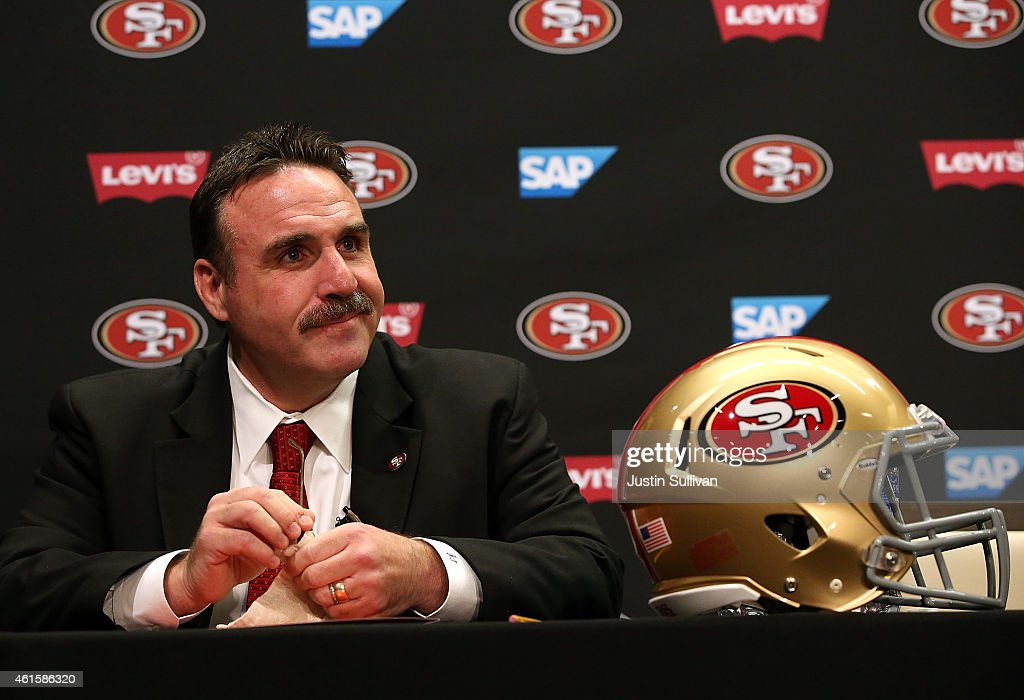 Jim Tomsula speaks during a press conference at Levi's Stadium on January 15, 2015 in Santa Clara, California. The San Francisco 49ers announced Jim Tomsula as their new head coach to replace Jim Harbaugh.