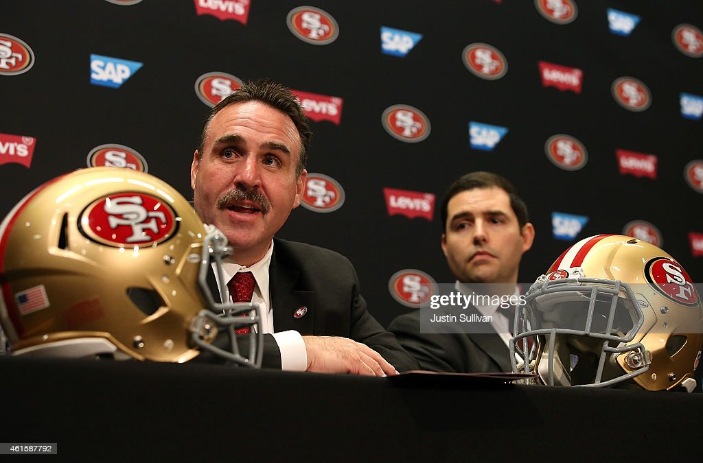 Jim Tomsula (L) speaks during a press confernce as San Francisco 49ers CEO Jed York (R) looks on at Levi's Stadium on January 15, 2015 in Santa Clara, California. The San Francisco 49ers announced Jim Tomsula as their new head coach to replace Jim Harbaugh.