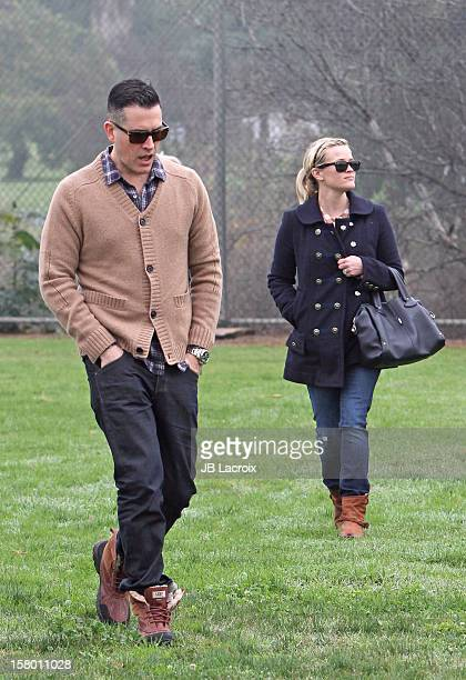 Jim Toth and Reese Witherspoon attend a soccer game in Pacific Palisades on December 8 2012 in Los Angeles California