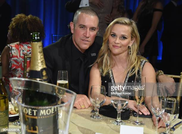 Jim Toth and Reese Witherspoon attend Moet Chandon celebrate The 23rd Annual Critics' Choice Awards at Barker Hangar on January 11 2018 in Santa...