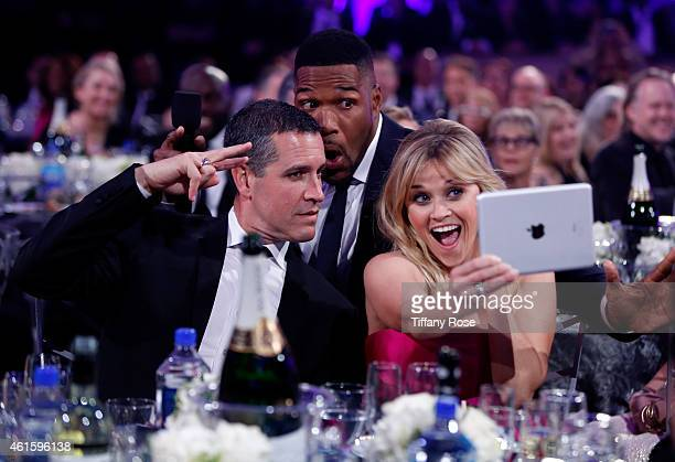 Jim Toth, host Michael Strahan and actress Reese Witherspoon attend the 20th annual Critics' Choice Movie Awards at the Hollywood Palladium on...