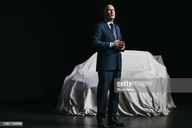 Jim Trainor, director of communications for Hyundai Motor America, speaks during the 2019 North American International Auto Show in Detroit,...