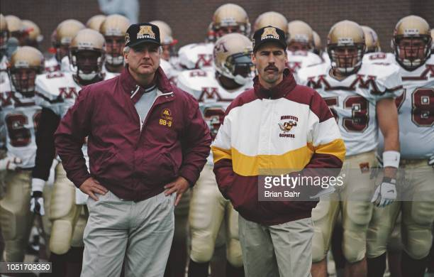 Jim Wacker head coach for the Minnesota Golden Gophers during the NCAA Division IA college football game against the Illinois Fighting Illini on 18...