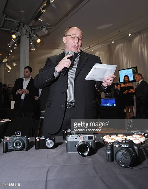Jim Wagner of Leica unveils new Leica models during The Luxury Review Press Preview Private Shopping Experience NYC at Metropolitan Pavillion on May...