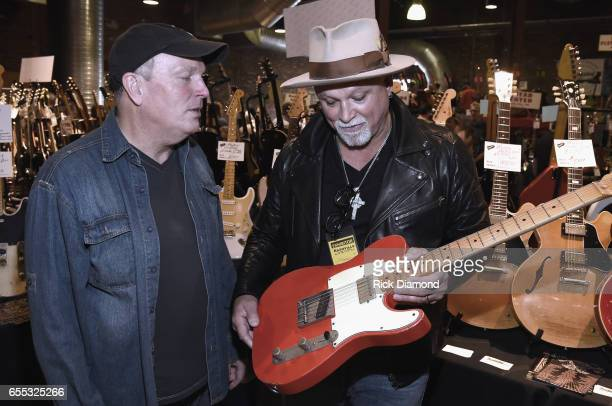 Jim Wallace JW Guitars and Derek StHolmes Ted Nujent Band/Whitford StHolmes Band attend 2017 Amigo Nashville Guitar Show at Liberty Hall in The...