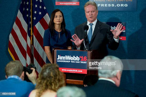 Jim Webb former Senator from Virginia and former 2016 Democratic presidential candidate speaks during a news conference with his wife Hong Le Webb...