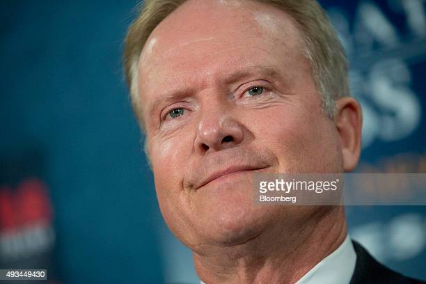 Jim Webb former Senator from Virginia and former 2016 Democratic presidential candidate pauses during a news conference with his wife Hong Le Webb...