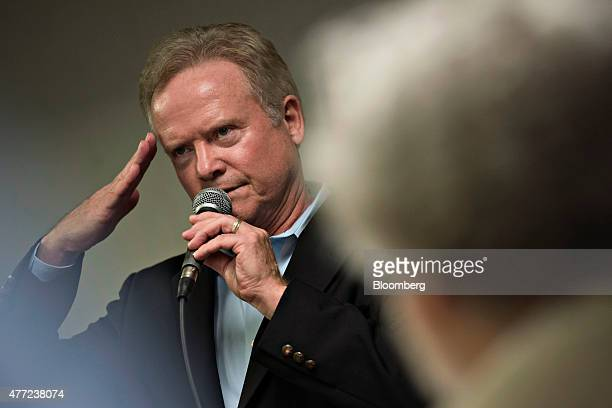 Jim Webb former senator from Virginia speaks during an Urbandale Democrats Flag Day gathering in Urbandale Iowa US on Sunday June 14 2015 Webb a...