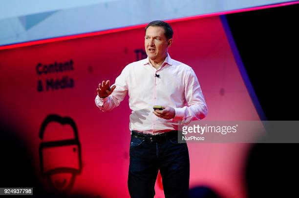 Jim Whitehurst Red Hat President and CEO speaking during The Foundations of the Digital Economy conference at Mobile World Congress day 2 on February...
