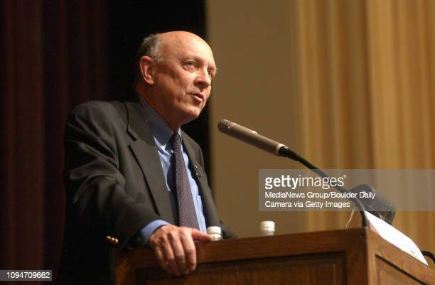 Jim Woolsey former Director of the Central Intelligence Agency give the keynote address in Macky Auditorium during the first day of the 58th...