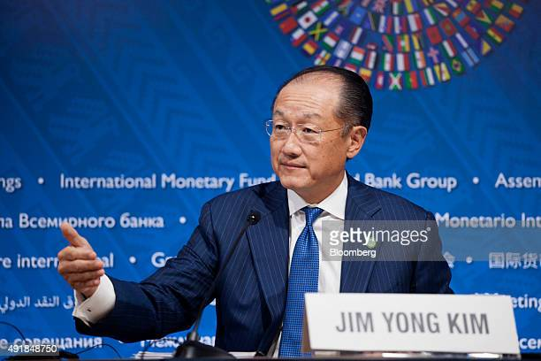 Jim Yong Kim president of the World Bank Group speaks during a press briefing at the World Bank Group and International Monetary Fund annual meetings...
