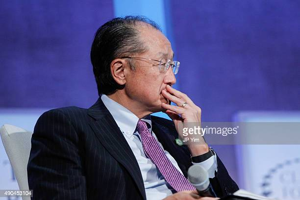 Jim Yong Kim the 12th President of the World Bank listens to the panel discussion at the Climate Change and Resiliency Redefining Business as Usual...