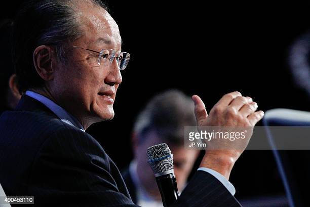 Jim Yong Kim the 12th President of the World Bank speaks on stage at the Climate Change and Resiliency Redefining Business as Usual during the third...