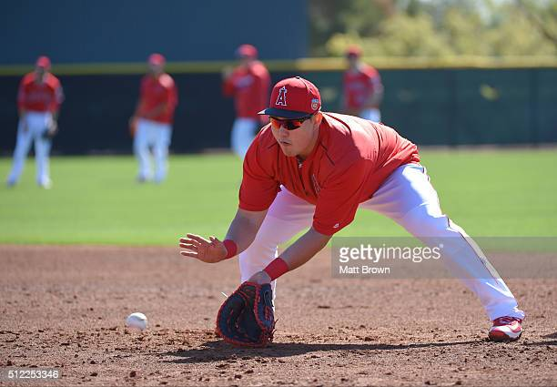 JiMan Choi of the Los Angeles Angels of Anaheim fields a ball during drills during spring training on February 24 2016 at Tempe Diablo Stadium in...