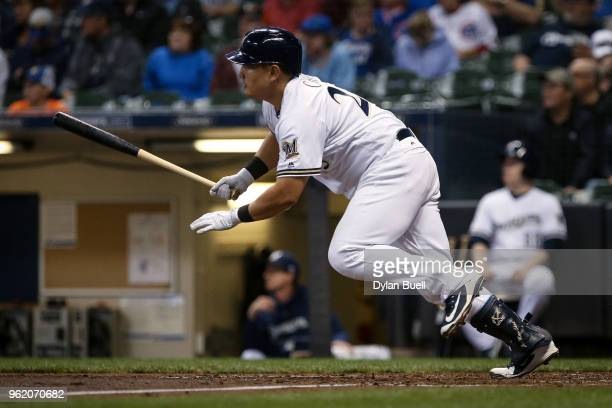JiMan Choi of the Milwaukee Brewers hits a double in the sixth inning against the Arizona Diamondbacks at Miller Park on May 22 2018 in Milwaukee...