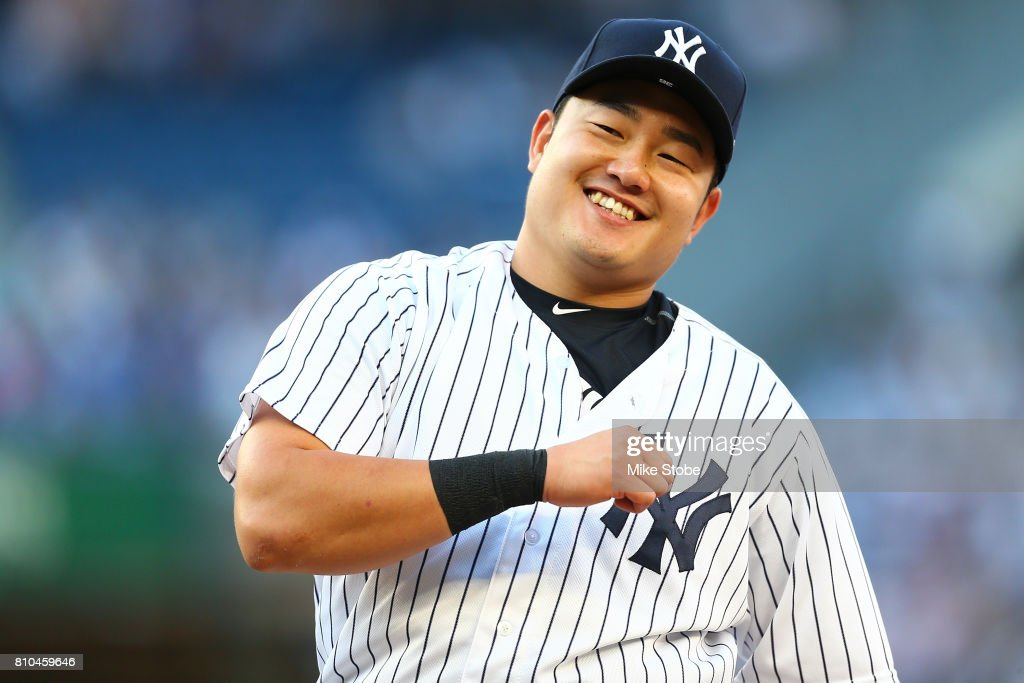 Ji-Man Choi #36 of the New York Yankees looks on prior to the start of the game against the Milwaukee Brewers at Yankee Stadium on July 7, 2017 in the Bronx borough of New York City.