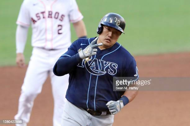 Ji-Man Choi of the Tampa Bay Rays celebrates a solo home run during the eighth inning against the Houston Astros in Game Five of the American League...