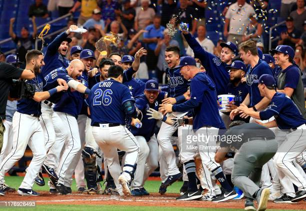 Ji-Man Choi of the Tampa Bay Rays celebrates a walk off home run in the 12th inning during a game against the New York Yankees at Tropicana Field on...