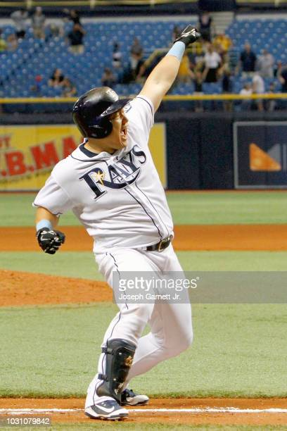 JiMan Choi of the Tampa Bay Rays celebrates along the third baseline after hitting a tworun gamewinning home run in the ninth inning of the game...