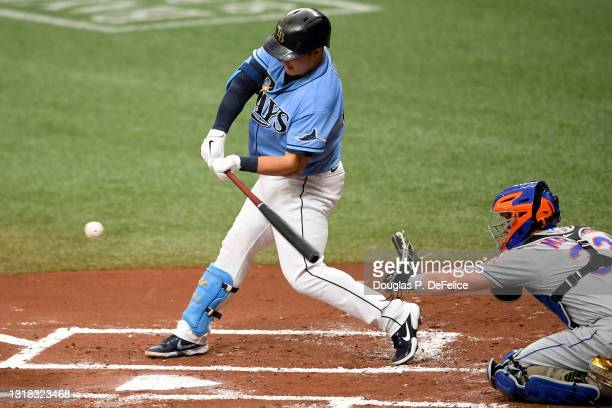 Ji-Man Choi of the Tampa Bay Rays hits a single during the first inning against the New York Mets at Tropicana Field on May 16, 2021 in St...