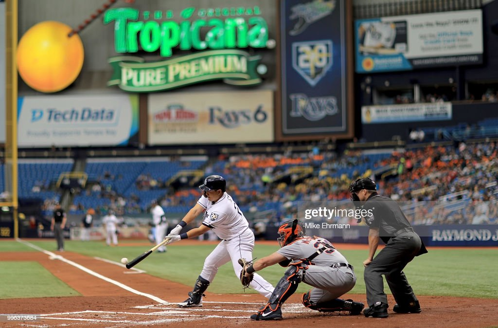 Ji-Man Choi #26 of the Tampa Bay Rays makes his Major League debut during a game against the Detroit Tigers at Tropicana Field on July 11, 2018 in St Petersburg, Florida.