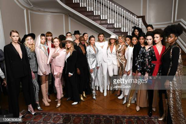 Jime Butti and Paola Rossi pose with models attend ROSSI TUXEDO New York Fashion Week Fall 2020 Collection at Consulate of Argentina on February 11...