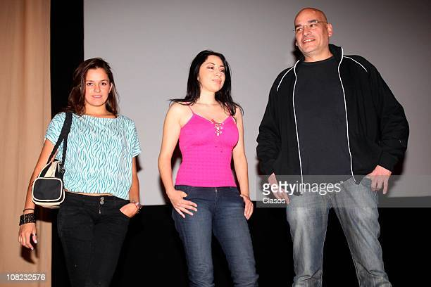 Jimena Guerra Ursula Tania Mansur and Hugo Rodriguez pose for a photograph during a press conference of the movie Una Pared para Cecilia at Cineteca...