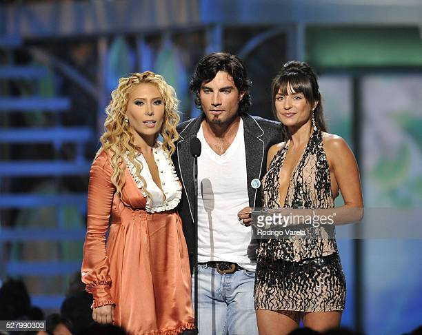 Jimena Victor Gonzalez and Marcela Mar on stage at the Premio Juventud Awards at Bank United centre on July 17 2008 in Miami Florida