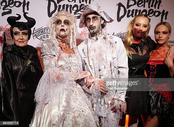 Jimi Baerbel Wierichs Natascha Ochsenknecht Umut Kekilli and Cheyenne Savannah Ochsenknecht attend the Halloween party at Berlin Dungeon on October...