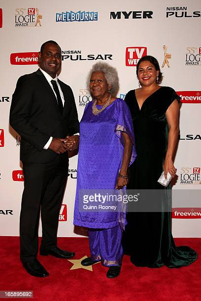Jimi Bani Bonita Mabo and Deborah Mailman arrives at the 2013 Logie Awards at the Crown Palladium on April 7 2013 in Melbourne Australia
