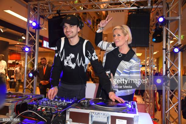 Jimi Blue Ochsenknecht and Claudia Effenberg attend the late night shopping party on February 25, 2017 in Hamburg, Germany.
