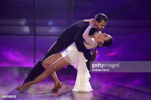 Jimi Blue Ochsenknecht and Renata Lusin perform on stage during the 5th show of the 11th season of the television competition 'Let's Dance' on April...