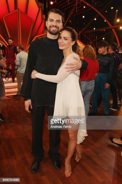 Jimi Blue Ochsenknecht and Renata Lusin smile during the 5th show of the 11th season of the television competition 'Let's Dance' on April 20 2018 in...
