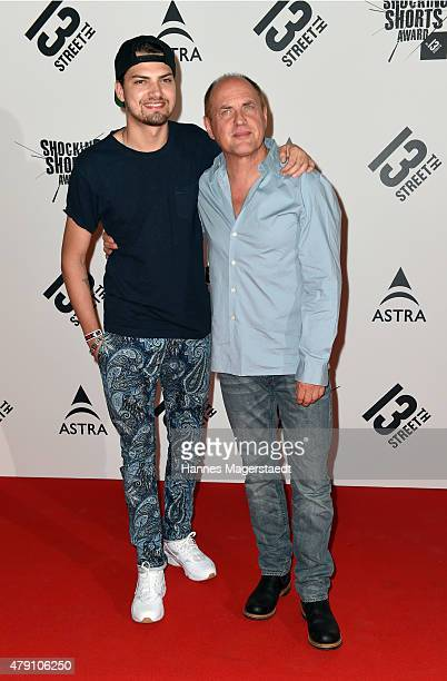 Jimi Blue Ochsenknecht and Uwe Ochsenknecht attend the Shocking Shorts Award 2015 during the Munich Film Festival on June 30 2015 in Munich Germany