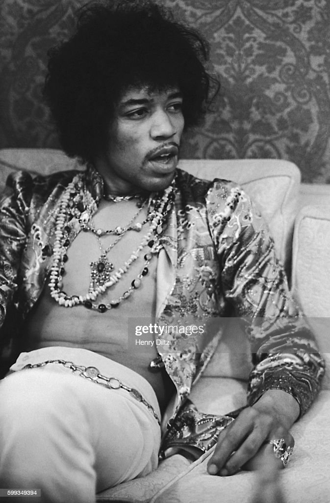 Jimi Hendrix backstage at the Hollywood Bowl in 1967.
